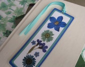 Blue and Teal Pressed Flower Collage Style Laminated Bookmark