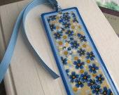 Bookmark Laminated Blue Floral Japanese Washi Paper