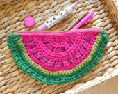 Hot pink watermelon zipper pouch purse - summer gifts for her