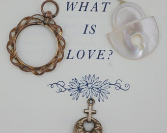 What is Love ?? - Collection of three Victorian Love tokens - c1900