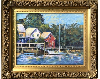Original signed Maine Painting - KITTERY MORNING -Coastal Seascape Painting - signed by Artist - acrylic Impressionist Landscape - harbor