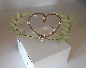 Laurel Leaf Heart Wedding Cake Topper