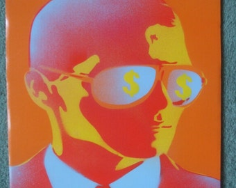 Man with Sunglasses painting,stencil art,spray paint art,canvas,dollar bills,fashion,pop art,urban,suits,model,wall art,graffiti,streetart