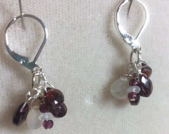 Garnet and moonstone earrings, January birthstone