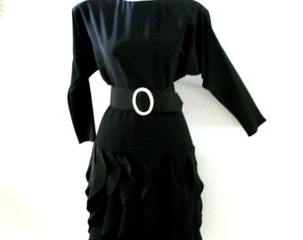 Vintage Black 80s Dress with Petal Skirt - Avant Garde 1980s Black Crepe Dress with Batwing Sleeves and Matching Belt - Size Small 3/4