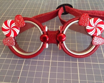 OOAK Blythe Red Steampunk Goggles by Kaleidoscope Kustoms - Peppermint Power