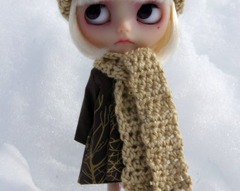 Blythe Rag Bag Designs Tan Crochet Hat & Scarf Set