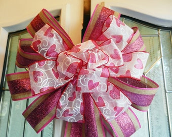 Large Valentine Door Bow Burlap and pink glitter ribbon white valentine ribbon with pink hearts