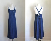 vintage 1990s denim dress - BLUE J. backless pinafore dress / S/M