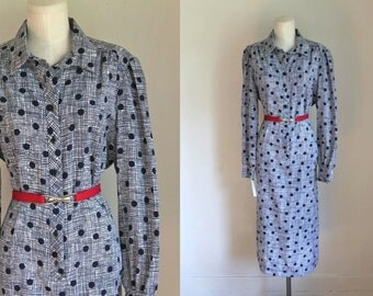 vintage 1960s silk dress -  NAT KAPLAN couture navy shirt dress / XL (nwt)