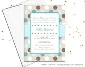 Gender neutral baby shower invite, neutral baby shower invitations, turquoise brown polkadots, printable or printed cards (758)