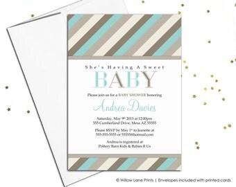 Gender neutral baby shower invite for a neutral baby shower - printable baby shower invitations neutral shower - beige and seafoam (775)