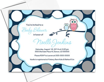 baby shower themes for boys | owl baby shower invitation in navy blue and gray | printable baby shower invite with polkadots - WLP00731