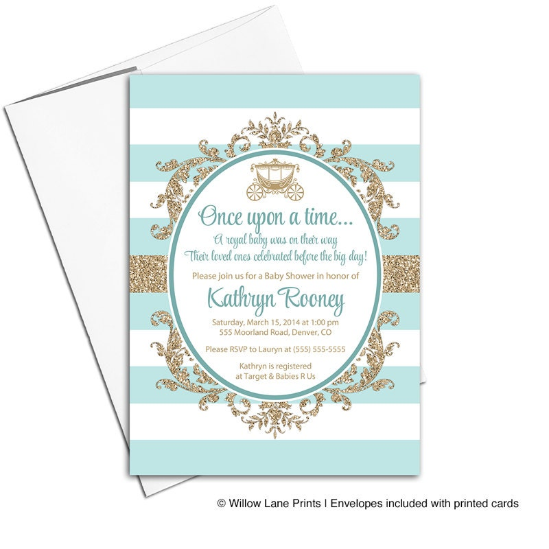 royal baby shower invitation gender neutral gold and mint