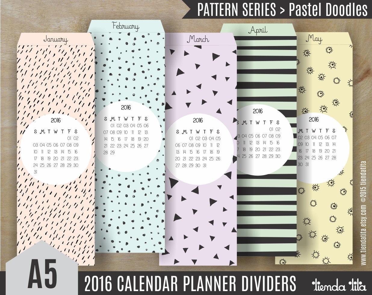 Calendar Bookmark : Sale off pastel doodles a calendar dividers