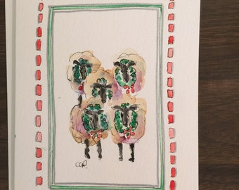 Christmas Ewes Watercolor Card / Hand Painted Watercolor Card