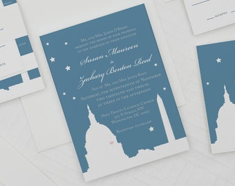 Modern Wedding Invitation, Starry Night Skyline Wedding Invites, Washington D.C. or Any City Starry  Wedding Invitation, D.C. Wedding Invite