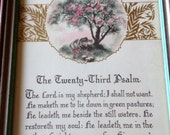 Vintage Saying Framed The Tweny-Third Psalm The Lord Is My Shepherd Wall Hanging Prayer Beautiful Graphics Sheep Peaceful