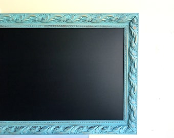 Narrow CHALKBOARD Kitchen Chalkboard Teal Turquoise MAGNETIC Chalk Board Blackboard Kitchen Organizer Artwork Display Long Beach House Decor