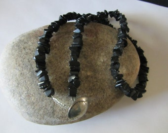 Black Jasper Nugget Chip Necklace, Buffalo Nickel Coin, Vintage Black Beads, Natural Stone Beads