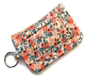 ID Wallet with Keychain/Student ID Holder/Id Name Badge Holder/Keychain Coin Purse/Id Case/Card Case/Sm Wallet/Flowers Cream Coral Blues
