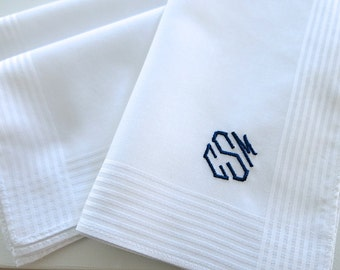 Set of 3 White Fine Cotton Mens Monogrammed Handkerchiefs Style No. 2025