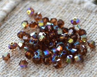 144pcs Swarovski Bicone Crystal Beads Smoked Topaz AB Faceted Austrian Crystal 3mm Xilion Model 5328