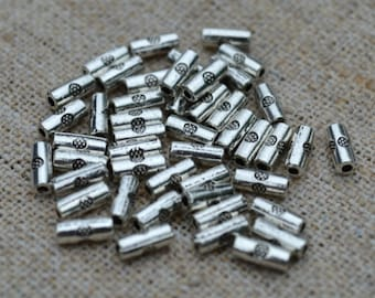 100 Beads 7x3mm Antique Silver Pewter Tube