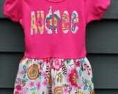Girls Personalized Dress - pink, teal, yellow, green, orange floral, party dress, Back To School,  boutique style dress