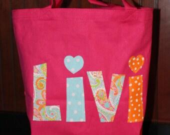 Girls School Tote Bag - Personalized, Library Tote, Preschool, Kids, Birthday Gift, School Tote, Book Bag, Name Applique, Unique