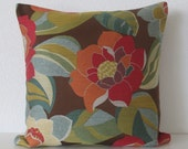 Large floral spice colorful red orange blue green decorative pillow cover