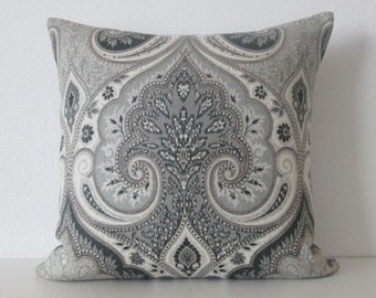 Latika Shadow medallion linen black gray decorative pillow cover accent pillow