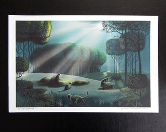 New Size Mini Poster Cats in Moonlight Print of Original Illustration Large Size 11 x17