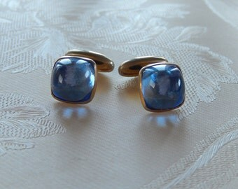 Vintage Blue Glass Cufflinks