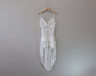 Vintage Lingerie White Lacy Nighty High Low Lingerie Wedding by Lady Cameo