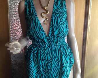 Turquoise 80s Tiger Romper