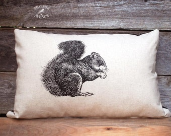 Rustic Home Squirrel Pillow, Cottage Decor, Decorative Pillow with Original Squirrel Screen Print
