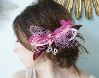 Fuchsia Pink Feather Netting Headpiece Hair Clip Bride Bridesmaid Bachelorette Party New Years Tulle Veiling Bow Beaded Cluster CUSTOMIZABLE