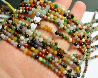 Gemstone mix - 4mm round beads - full strand - 100 beads - A quality - multi gemstone mix - RFG773