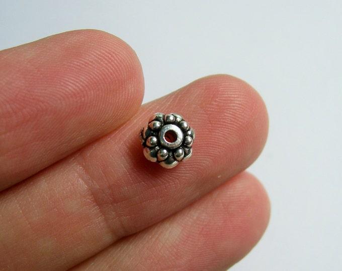 100 pcs Antique style silver tone rondelle beads -  ASA205
