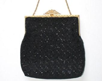 50% OFF SALE Black Beaded Purse . Vintage 1950s 60s Formal Evening Bag . Elegant Classy Intricate Bead Work Handbag Made in Hong Kong . Part