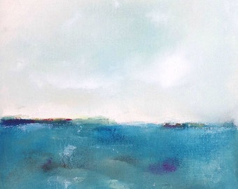Colorful Turquoise Blue Seascape Abstract Original Painting -Dreamy Turquoise Sea  12 x 12