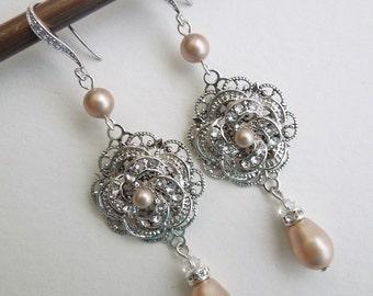 Pearl earrings Swarovski Chandeliers Earrings Statement Earrings Champagne Pearl Wedding pearl Earrings crystal chandelier Earrings ROSELANI
