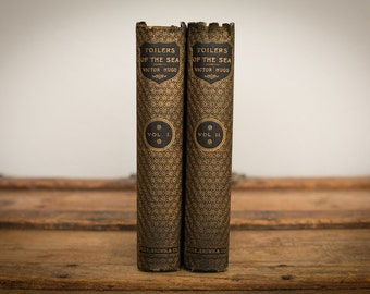 "1890 Victor Hugo ""Toilers of the Sea"" Book Set, English, Antique Gold Foil HC"