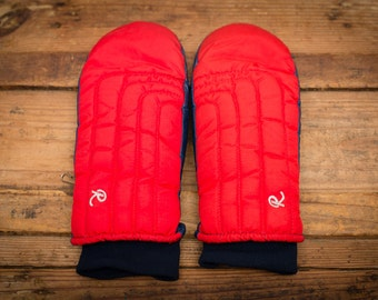 Roffe Ski Mittens, Ladies Medium, Retro Puffy Red, Goretex, Vintage 80s