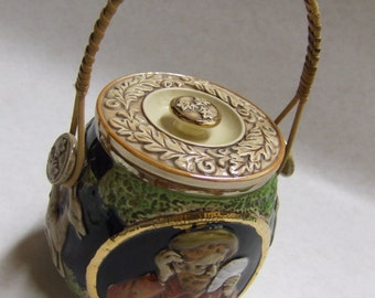 Vintage Biscuit Jar - Germany - Gilded - Basket Reed Style Handle - Poker Player - Castle Deer - Leaves - Acorns - Fox Hunt - Cookie Jar