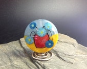 Lampwork Glass Focal Bead - handmade - Flower Vase Still Life