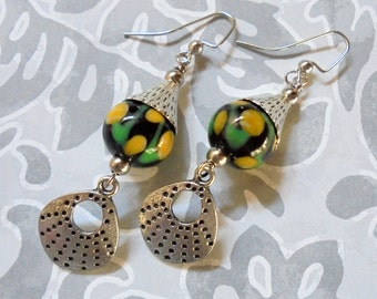 Black, Yellow, Green and Silver Ethnic Earrings (2896)