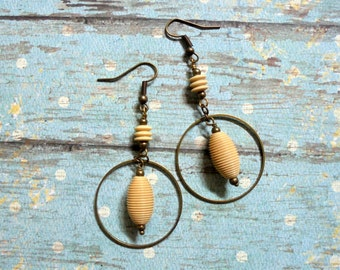 Ivory and Brass Earrings (2581)