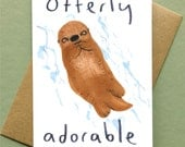 Valentines Love Card Otterly Adorable Otter Blank